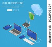 cloud computing technology... | Shutterstock .eps vector #1022905129
