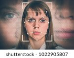 woman face recognition  ... | Shutterstock . vector #1022905807