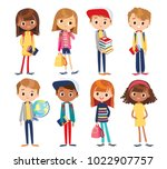 set of kids with school... | Shutterstock .eps vector #1022907757