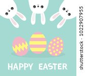 happy easter. three bunny... | Shutterstock .eps vector #1022907955