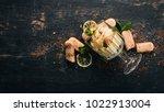 tiramisu dessert. top view. on... | Shutterstock . vector #1022913004