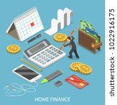 personal home finance flat... | Shutterstock .eps vector #1022916175