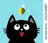 black cat head looking up to... | Shutterstock .eps vector #1022918887