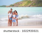 young family on vacation have a ... | Shutterstock . vector #1022920321