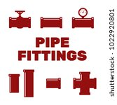 pipe fittings vector icons set. ... | Shutterstock .eps vector #1022920801