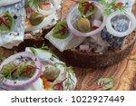 danish open sandwich smorrebrod ...   Shutterstock . vector #1022927449