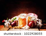easter cake and red painted... | Shutterstock . vector #1022928055