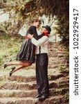 retro fashion couple   Shutterstock . vector #1022929417