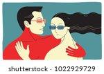 couple in love. two hugging... | Shutterstock .eps vector #1022929729