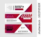 set of horizontal abstract web... | Shutterstock .eps vector #1022935339