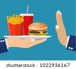stop fast food junk snacks... | Shutterstock .eps vector #1022936167