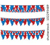red and blue bunting flags set... | Shutterstock .eps vector #102295489