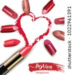 heart drawn with red lipstick.... | Shutterstock .eps vector #1022961391