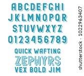 retro alphabet with convex... | Shutterstock .eps vector #1022963407