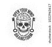 retro emblem with a human brain ... | Shutterstock .eps vector #1022963617