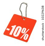 Sale tag on pure white background, no copyright infringement - stock photo