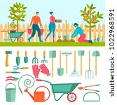 people doing garden activities. ... | Shutterstock .eps vector #1022968591