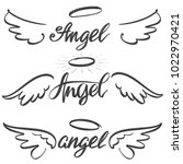 angel wings icon sketch... | Shutterstock .eps vector #1022970421