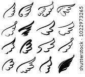 wings icon sketch collection... | Shutterstock .eps vector #1022973265