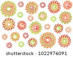 watercolor red  green and... | Shutterstock . vector #1022976091