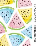 colorful watermelon pattern art ... | Shutterstock .eps vector #1022979244