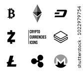 cryptocurrency blockchain icons ... | Shutterstock .eps vector #1022979754