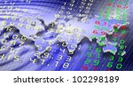 stock exchange board and world map in the background / stock exchange and world - stock photo