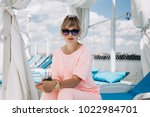 beautiful girl in glasses...   Shutterstock . vector #1022984701