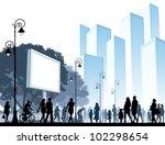 crowd of people walking on a...   Shutterstock .eps vector #102298654