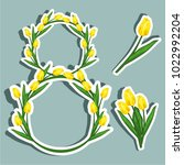 vector illustration sticker on... | Shutterstock .eps vector #1022992204