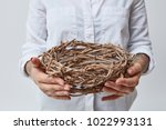young girl holding a nest of... | Shutterstock . vector #1022993131