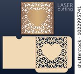die laser cut wedding envelope... | Shutterstock .eps vector #1022995741
