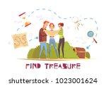 find treasure cartoon vector... | Shutterstock .eps vector #1023001624