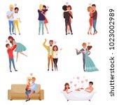 young men and women characters... | Shutterstock .eps vector #1023002989