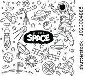 outer space vector doodles | Shutterstock .eps vector #1023004885