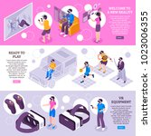 virtual reality vr simulators... | Shutterstock .eps vector #1023006355