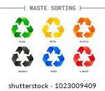 waste sorting  segregation.... | Shutterstock .eps vector #1023009409