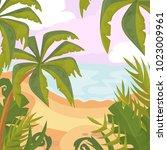 summertime on the beach. palms... | Shutterstock .eps vector #1023009961