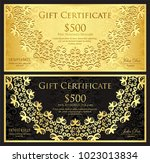 luxury gold and black gift... | Shutterstock .eps vector #1023013834