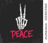 peace gesture sign print with... | Shutterstock .eps vector #1023015565