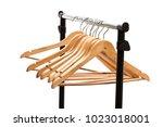 coat  hangers on a clothes rack  | Shutterstock . vector #1023018001