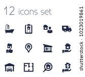 set of 12 estate icons set.... | Shutterstock .eps vector #1023019861