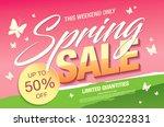 spring sale banner template... | Shutterstock .eps vector #1023022831