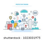 protection trading. financial... | Shutterstock .eps vector #1023031975