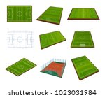 set of realistic football field ... | Shutterstock .eps vector #1023031984