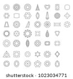 different gems facets types | Shutterstock .eps vector #1023034771