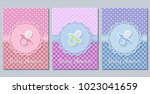 baby shower cards. cute... | Shutterstock .eps vector #1023041659