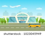 airport building exterior with... | Shutterstock .eps vector #1023045949