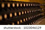 old wine barrels in a wine... | Shutterstock . vector #1023046129