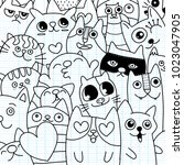 funny doodle cat icons  pattern.... | Shutterstock .eps vector #1023047905
